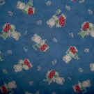 1.5 Yard Moda 26 Letters Housework Gardening Fishing Bear on Blue Cotton Fabric Bolt End
