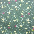 1.5 Yard CHANTECLAIRE CLASSIC BLOOMS Leaves on Green REPRO COTTON FABRIC BOLT END