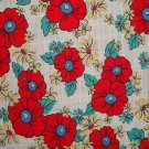 FQ Daisy Kingdom Granny's Feedsack Red Yellow Flowers on Cream 40's Repro Quilt Fabric Fat Quarter