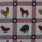 Farm Animals Red Gingham & Stars Quilt Blocks Cotton Quilting Fabric