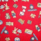 FQ Vintage Nursery Item Toss on Red Cotton Fabric Fat Quarter