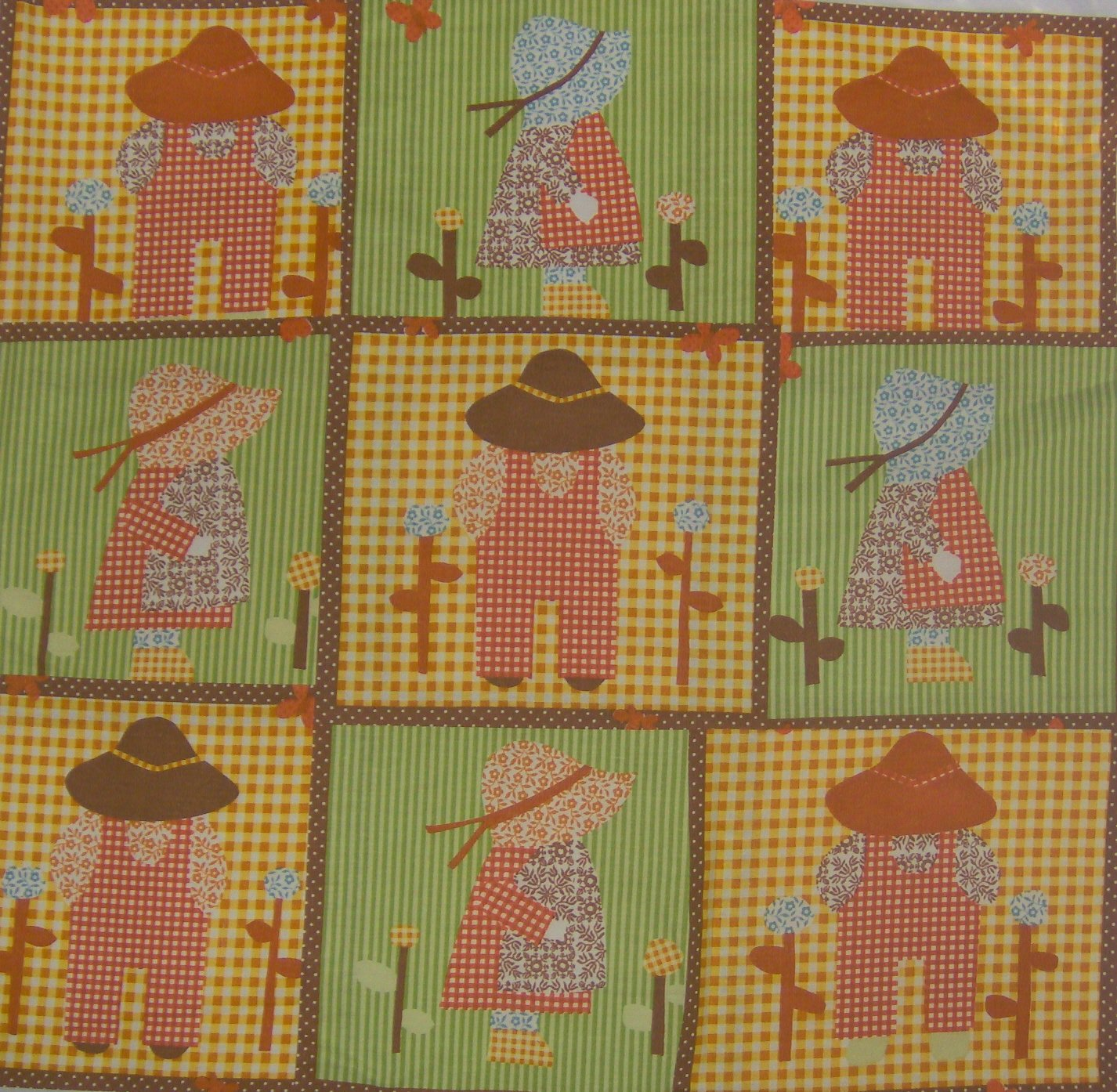 Vintage Waverly Sunbonnet Sue and Overall Bill Fabric Squares LAST BLOCKS!