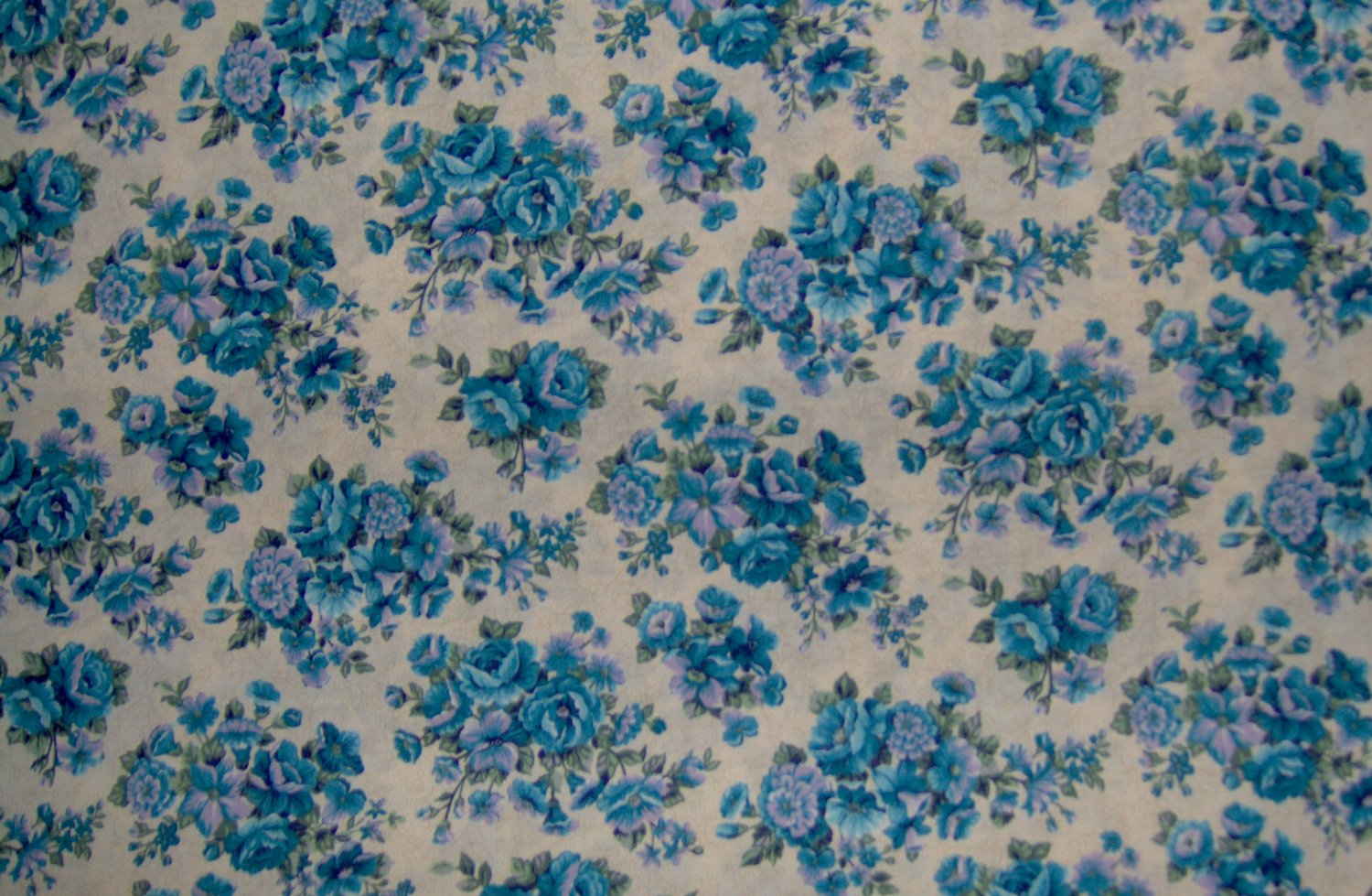 7/8+ Yard Blue & Lavender Flowers on Tan Toile Vines Cotton Fabric Cranston Print Works VIP Bolt End