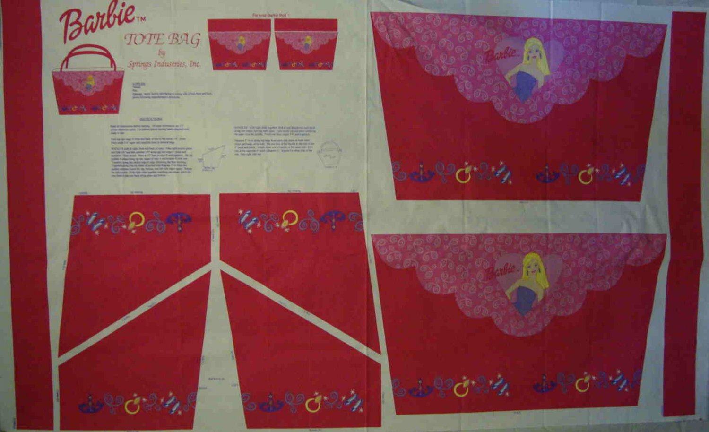 Mattel Barbie Tote Bag Purse Canvas Fabric Panel LAST ONE!