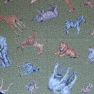 FQ Wild Jungle Safari Animals Tossed on Green Cotton Quilt Fabric Fat Quarter