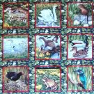 Makower River Bank Wildlife Animal Blocks Fat Quarter FQ Cotton Quilt Fabric