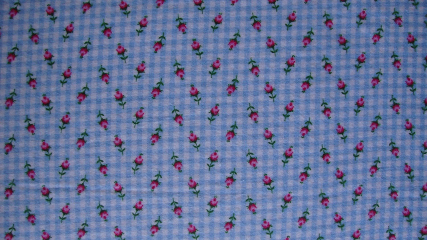 3/4+ Yard Red Roses on Baby Blue Gingham Cotton Flannel Fabric Bolt End