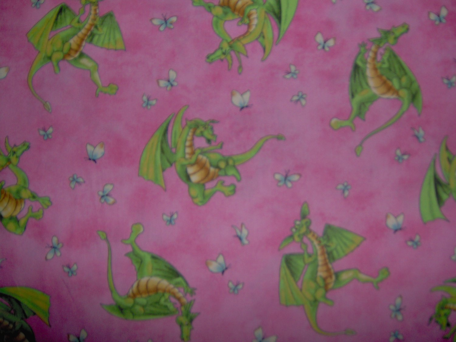 Lagon Dragon Toss on Pink Cotton Kids Fabric Bolt End by Maywood Studios