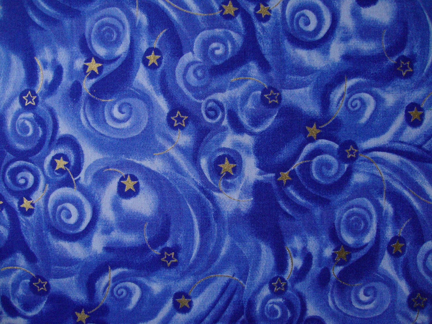 F8 Pegasus Gold Stars on Blue Swirls Mystical Cotton Fat Eighth F8th by Fabric Visions