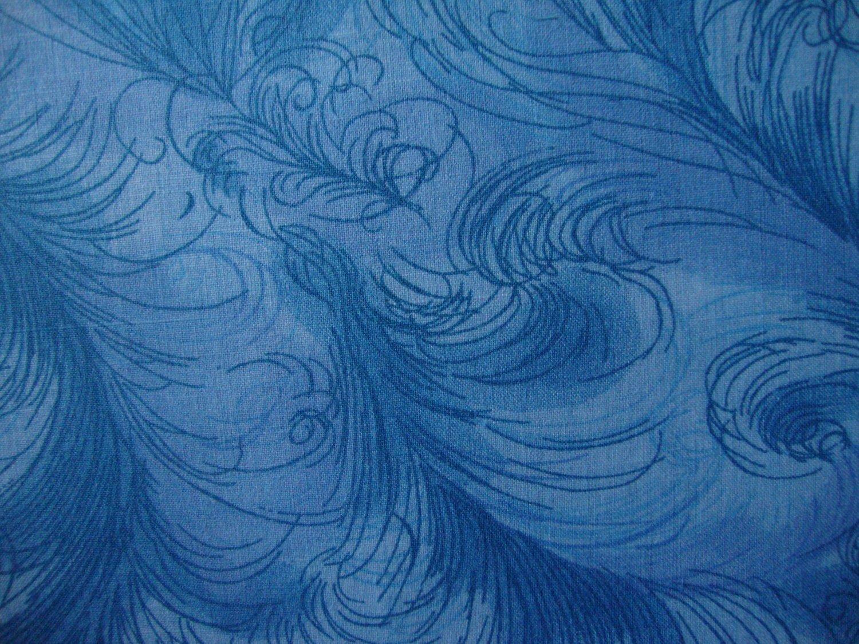 "8 1/2"" Light Medium Blue Feathery Swirls Cotton Fabric Bolt End"