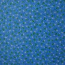 """8 3/8"""" Tiny White and Green Flowers on Light Blue Cotton Fabric Bolt End"""