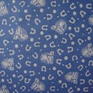 FQ 1930's Era Designs Horses & Horseshoes on Blue Cotton Fabric Fat Quarter