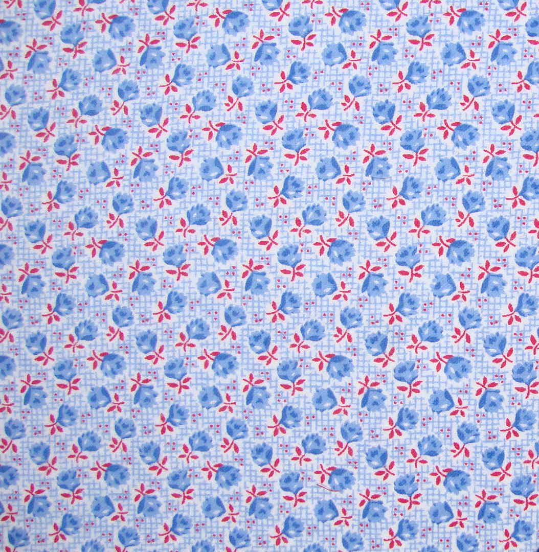 Yard blue red flowers on cotton flannel fabric