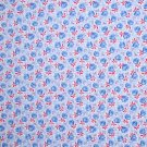 3/4 Yard Blue & Red Flowers on Blue Cotton Flannel Fabric Bolt End