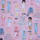 FQ Paper Dolls Clothes Accessories on Pink Fabric Traditions Cotton Fabric Fat Quarter