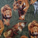 FQ Wild Jungle Safari Animals Appliques on Green Cotton Quilt Fabric Fat Quarter