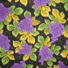 F8 Purple Grape Clusters Vine Leaves on Black Cotton Quilt Fabric Fat Eighth F8th