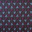 FQ Chapel House Pink and White Leaf Stripes on Brown Cotton Fabric Fat Quarter