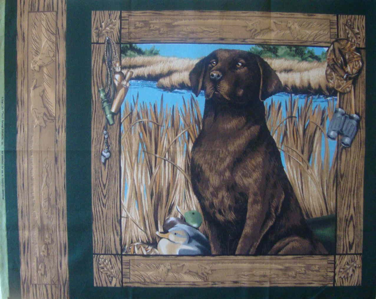 FQ A Dog's Life Chocolate Lab Duck Hunting Pillow Quilt Block Cotton Fabric Fat Quarter