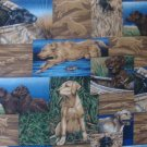 FQ A Dog's Life Labs Duck Hunting Patches Quilt Block Cotton Fabric Fat Quarter