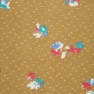 7/8 Yard Vintage Wellwood Fabric Red White Blue & Green Flowers on Brown Gold Bolt End