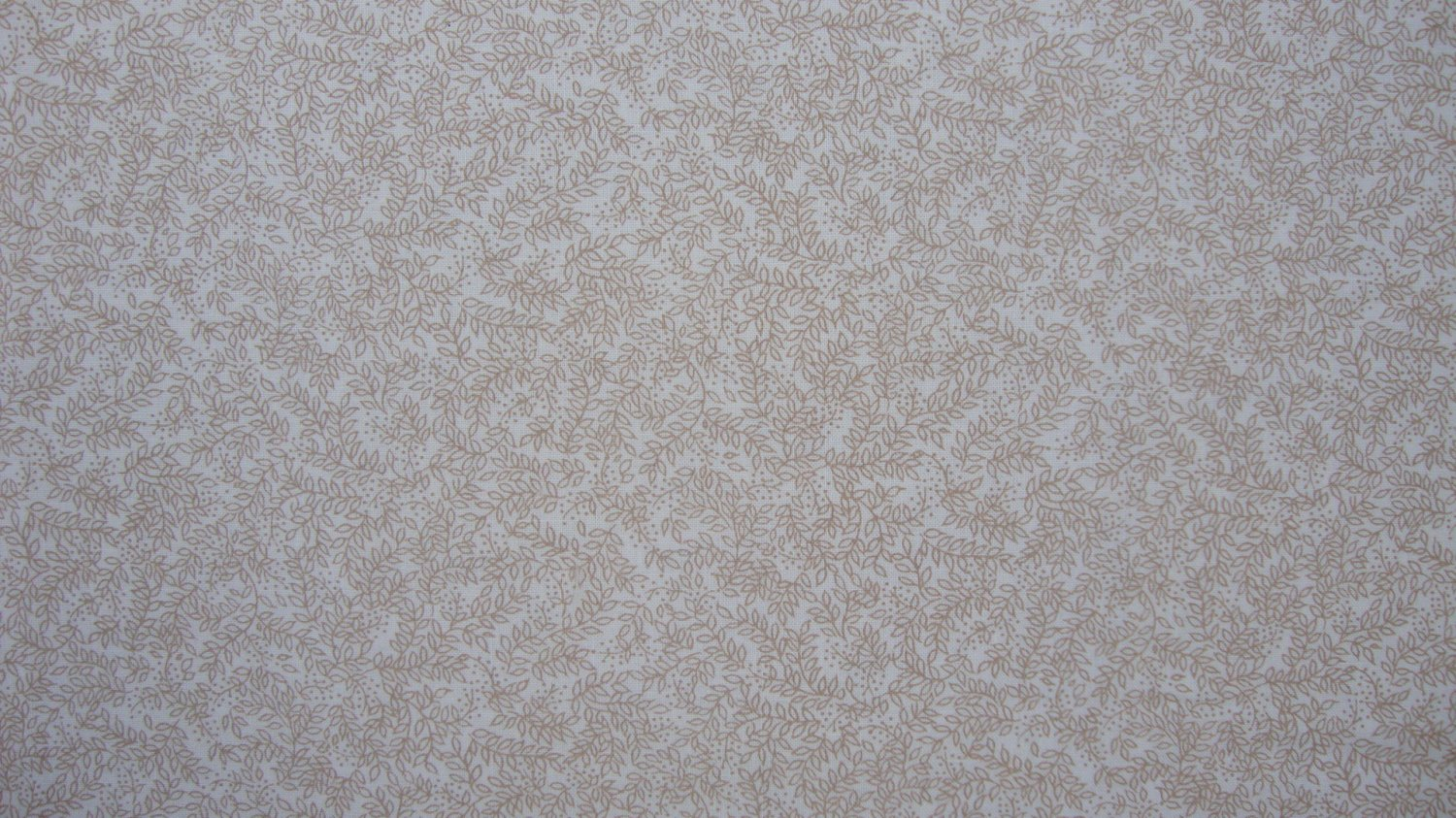 3/4 Yard Tan Feathery Leaves Allover on Cream Cotton Fabric Bolt End