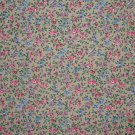3/8 Yard Pink Blue & Purple Flower Calico on Tan Fabric Bolt End
