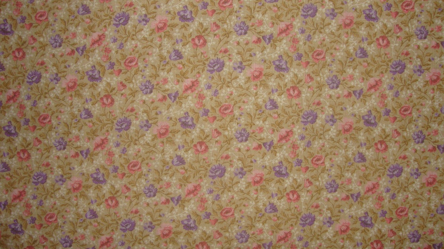 BTY Pink & Purple Flower Toss on Golden Tan Calico Fabric By the Yard