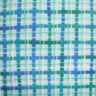 Green Blue & White Plaid Cotton Fabric Bolt End
