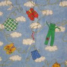 1 1/2 Yards Clothesline on Sky Blue with White Clouds Cotton Fabric Bolt End