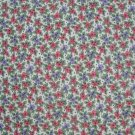 3/4+ Yard Red & Purple Calico Flowers on White Cotton Fabric Bolt End