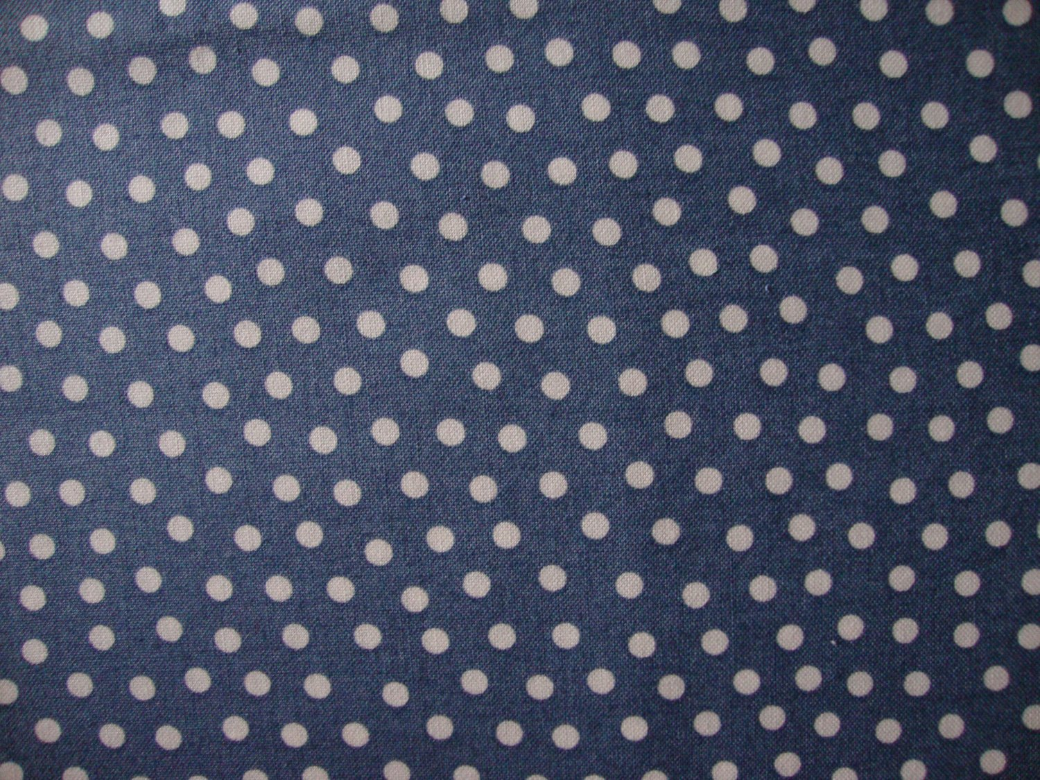 Yard just fun white polka dots on blue cotton