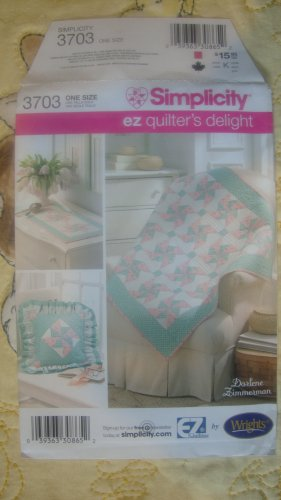 Simplicity EZ Quilter's Delight Nursery Baby Quilt Changing Pad Pillow Pattern # 3703