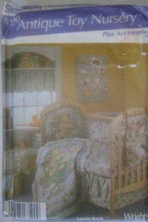 Simplicity Antique Toy Nursery Baby Quilt Dust Ruffle Crib Bumper Pattern # 5130