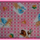 F8 Beatrix Potter Character Blocks on Pink Gingham Cotton Fabric Fat Eighth F8th