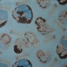 BTY RJR Tiny Treasures Vintage A Mother's Love Scenic Vignettes on Blue Cotton Fabric By the Yard