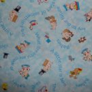 BTY Key to the Future Blue Baby and Toy Toss Kids Cartoon Fabric Print Concepts By the Yard