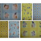 Key to the Future Blue & Yellow Fat Quarter FQ Kids Cartoon Fabric Lot Value Pack by Print Concepts