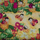 1 1/8+ Yard Love Bug Lady Bug Scenic on Yellow Cotton Fabric Bolt End