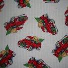 BTY Blue Jean Teddy Christmas Tree Wreath Antique Truck Cotton Flannel Fabric by Daisy Kingdom