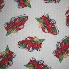 FQ Blue Jean Teddy Christmas Tree Truck Cotton Flannel Fabric Fat Quarter by Daisy Kingdom