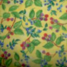 Beary Berry Patch Plant Toss on Yellow Cotton SSI Fabric 1 1/2+ Yard Bolt End