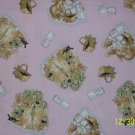 1 3/8 Yard Beatrix Potter Peter Rabbit Pink Baskets and Berries Vignettes Cotton Fabric Bolt End