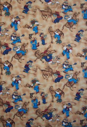 BTY Bears West Blue Cowboy Teddy Bear Playtime Scenes Cotton Kids Fabric By the Yard