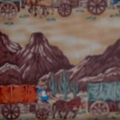 BTY Cowboy Western Teddy Bears West Blue Wagon Train Cotton Fabric By the Yard