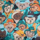 BTY Bears West Green Cowboy Teddy Bear Packed Allover Cotton Kids Fabric By the Yard