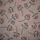 BTY RJR Needlework Sampler Pink Mauve Flowers & Blue Butterflies Cotton Quilt Fabric Per Yard