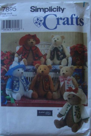 "Elaine Heigl Designs 18"" Teddy Bear & Clothes Pattern # 7895 by Simplicity Crafts"