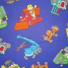 F8 Bob the Builder Character Toss on Navy Blue Fabric Fat Eighth F8th