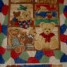 "Suitcase Teddy Bear Family Baby Kids Quilt Top 60"" Fabric Panel"